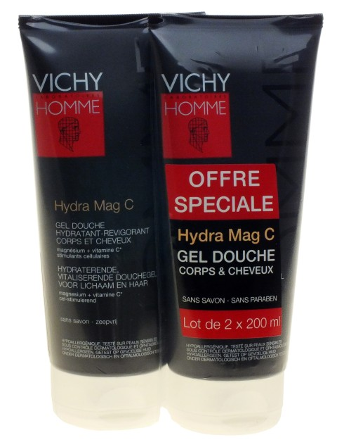 d odorants soins corporels vichy homme hydra mag c gel douche corps et cheveux lot de 2. Black Bedroom Furniture Sets. Home Design Ideas